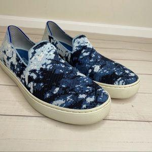 Rothy's blue Shibori print slip on sneakers size 8